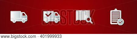 Set Delivery Cargo Truck Vehicle, With Check Mark, Search Barcode And Verification Of Delivery List