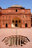 Outside Architecture of the Red Fort in Agra India poster