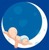 Vector illustration Baby sleeping on moon . poster