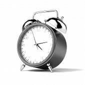 Black alarm clock isolated on a white background poster