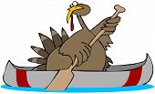 This illustration depicts a Tom turkey paddling a canoe. poster