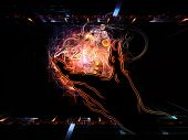 Hand of Science series. Abstract arrangement of human hand and science related design elements suitable as background for projects on technology scientific knowledge and education poster