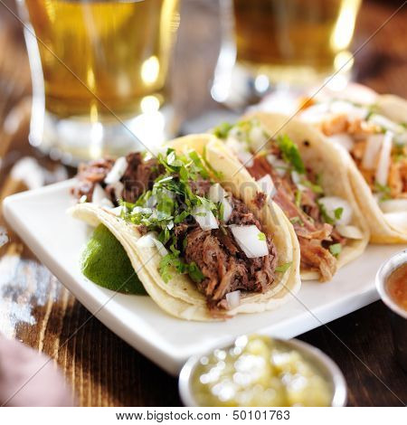 authentic mexican barbacoa, carnitas and chicken tacos poster