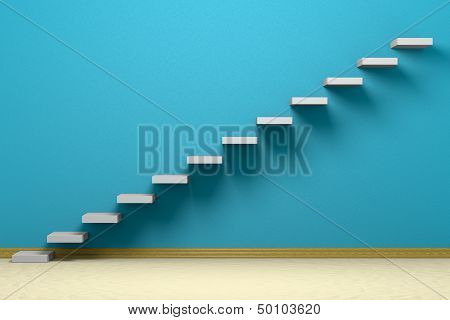 Empty room with ascending stairs blue rough wall beige floor and plinth poster