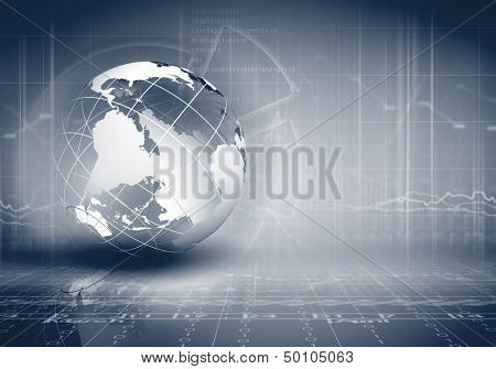 Blue digital image of globe. Background image