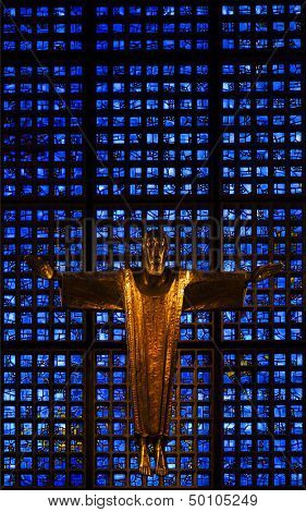 BERLIN, GERMANY - JULY 20, 2013: The altar of the Kaiser Wilhelm Memorial Church, Berlin, Germany, designed by Egon Eiermann, July 20, 2013