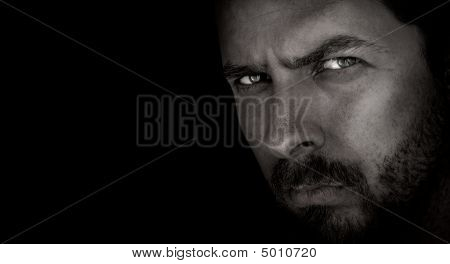 Dark Portrait Of Scary Man With Evil Eyes