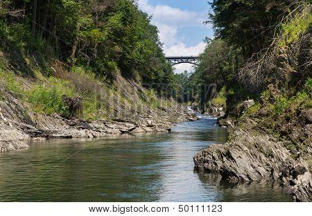 Ottauquechee River Flowing Through The Quechee Gorge