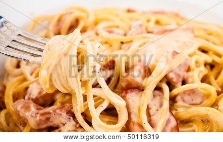 Spaghetti Carbonara Made With Eggs, Bacon, Cheese