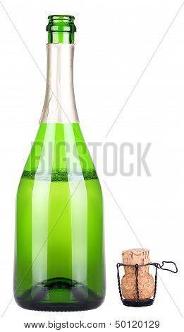 bottle of champagne uncork