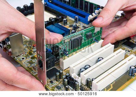 Man Installing Lan Networdk Adapter Into Pc
