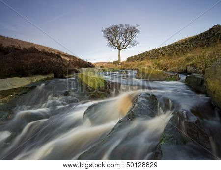 close up of a waterfall on moorland near to the west yorkshire town of hebden bridge in calder dale