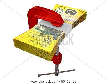 Clamped Australian Dollar Notes