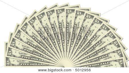 5 Dollar Notes Half Circle Template