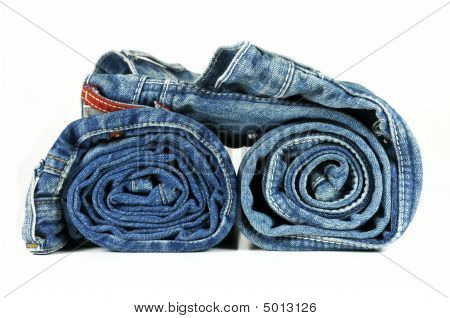 Rolled Up Blue Denim Jeans
