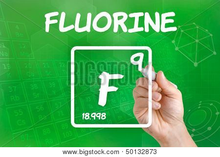 Hand drawing the symbol for the chemical element fluorine