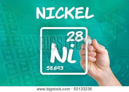 Hand drawing the symbol for the chemical element nickel