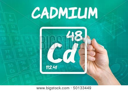 Hand drawing the symbol for the chemical element cadmium