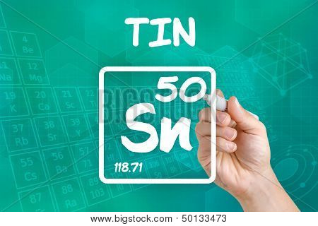 Hand drawing the symbol for the chemical element tin