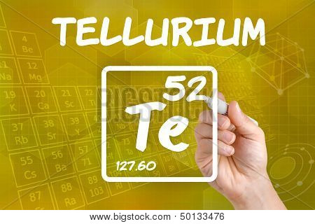 Hand drawing the symbol for the chemical element tellurium