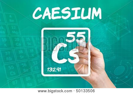 Hand drawing the symbol for the chemical element caesium