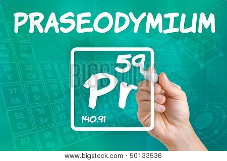 Hand drawing the symbol for the chemical element praseodymium