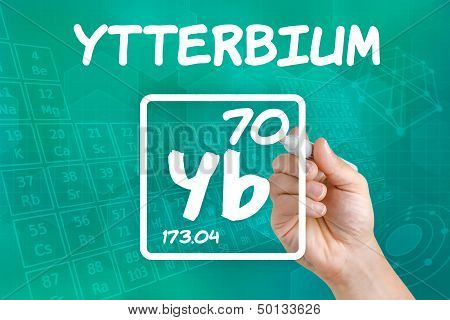 Hand drawing the symbol for the chemical element ytterbium