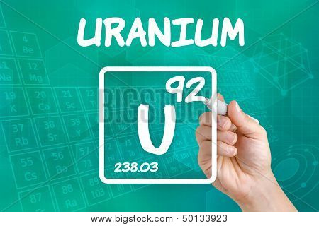 Hand drawing the symbol for the chemical element uranium