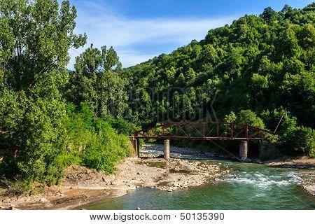 Old Metal Bridge At The River Fork