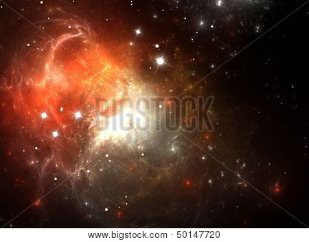 Red Space Nebula in Gas, Dust, and Stars