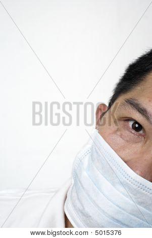 Asian Man In Medical Mask Portrait