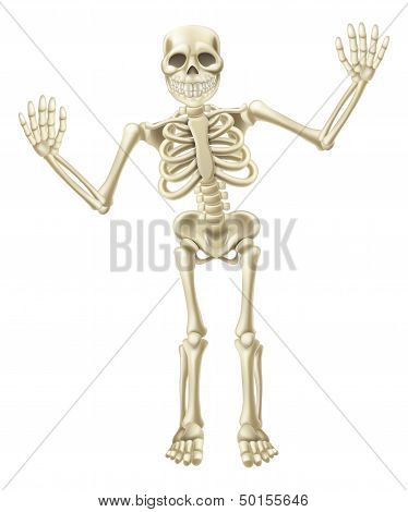 Drawing of a cute cartoon waving skeleton character. Great for Halloween or similar. poster