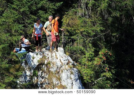 Tourists in the Occidental Carpathians, Romania, Europe