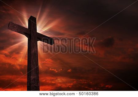 Crucifix In Sunset