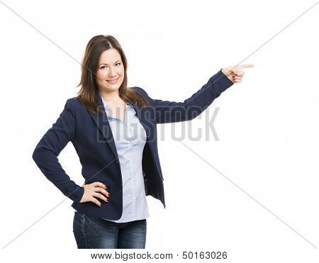 Business woman pointing to something, isolated over white