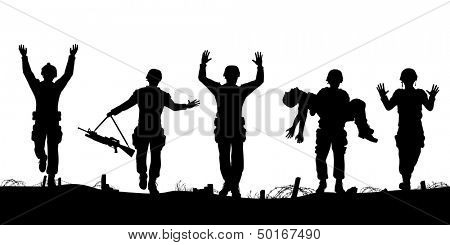 Illustrated silhouettes of a troop of defeated soldiers surrendering
