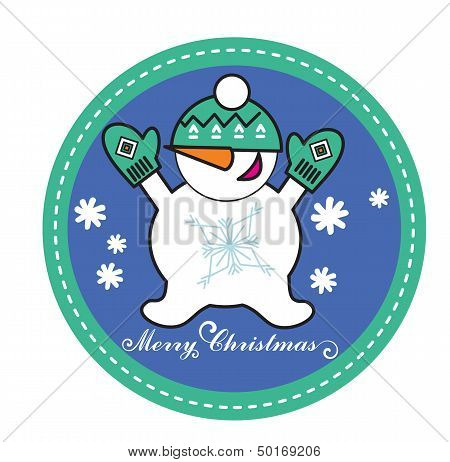 snowman in green heading and glove
