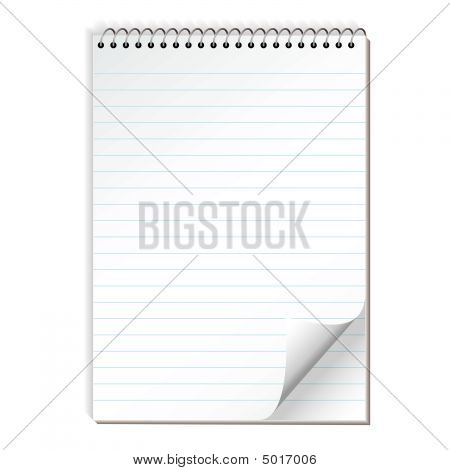 Simple illustrated spiral bound note pad with blue lines poster