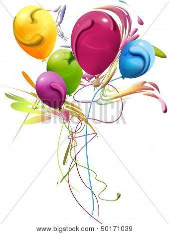 Colorful Balloons, Decorated With Cheerful Bouquet