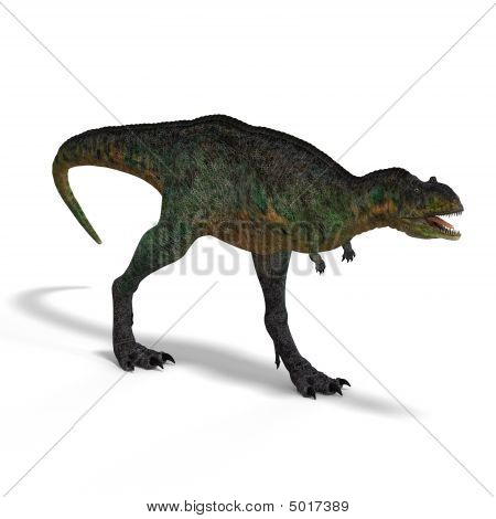 Dinosaur Aucasaurus with clipping path over white poster