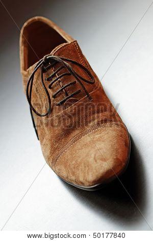 Mens Brown Shoe Close-up.