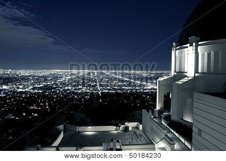 Observation Deck at Griffith Observatory Los Angeles California USA. Los Angeles Scenic Night View. Architecture Photo Collection. poster