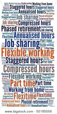 Flexible working in word collage
