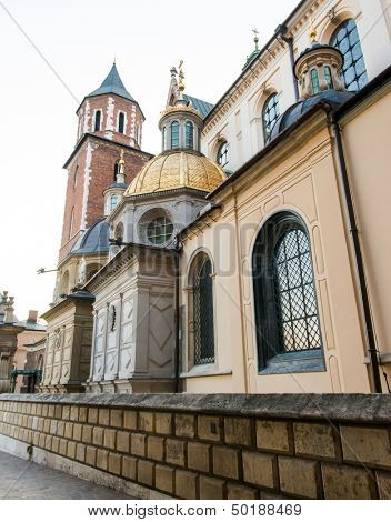 Wawel cathedral located on Wawel Hill in Krakow, Poland