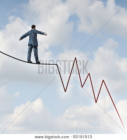 Losing Profit risk and Investment danger as a financial and business concept or metaphor facing wealth adversity as a businessman walking on a high wire tight rope shaped as a negative and downward stock market sell graph. poster