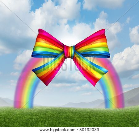 Gift of fortune and gifts from heaven concept with a colorful rainbow shaped as a fun and happy holiday ribbon and bow on a sky background as a symbol generosity in charity and donations for the joy of giving and receiving presents. poster