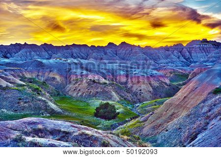 HDR Sunset in The Badlands South Dakota USA. High Dynamic Range Photography. HDR Photo Collection. poster