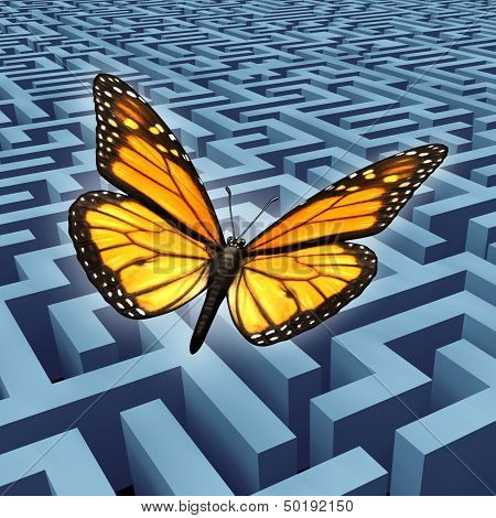 Believe in yourself concept and metaphore for success with a monarch butterfly on a journey flying over a complicated maze or labyrinth to rise above adversity and obstacles as a human lifestyle and business idea. poster