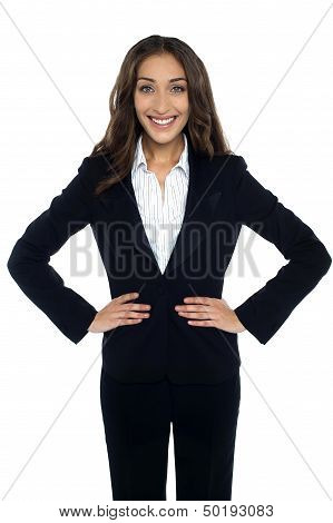 Charming Corporate Woman Smiling Heartily
