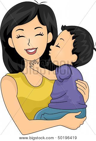 Illustration of a Cute Little Boy Giving His Mom a Kiss on the Cheek